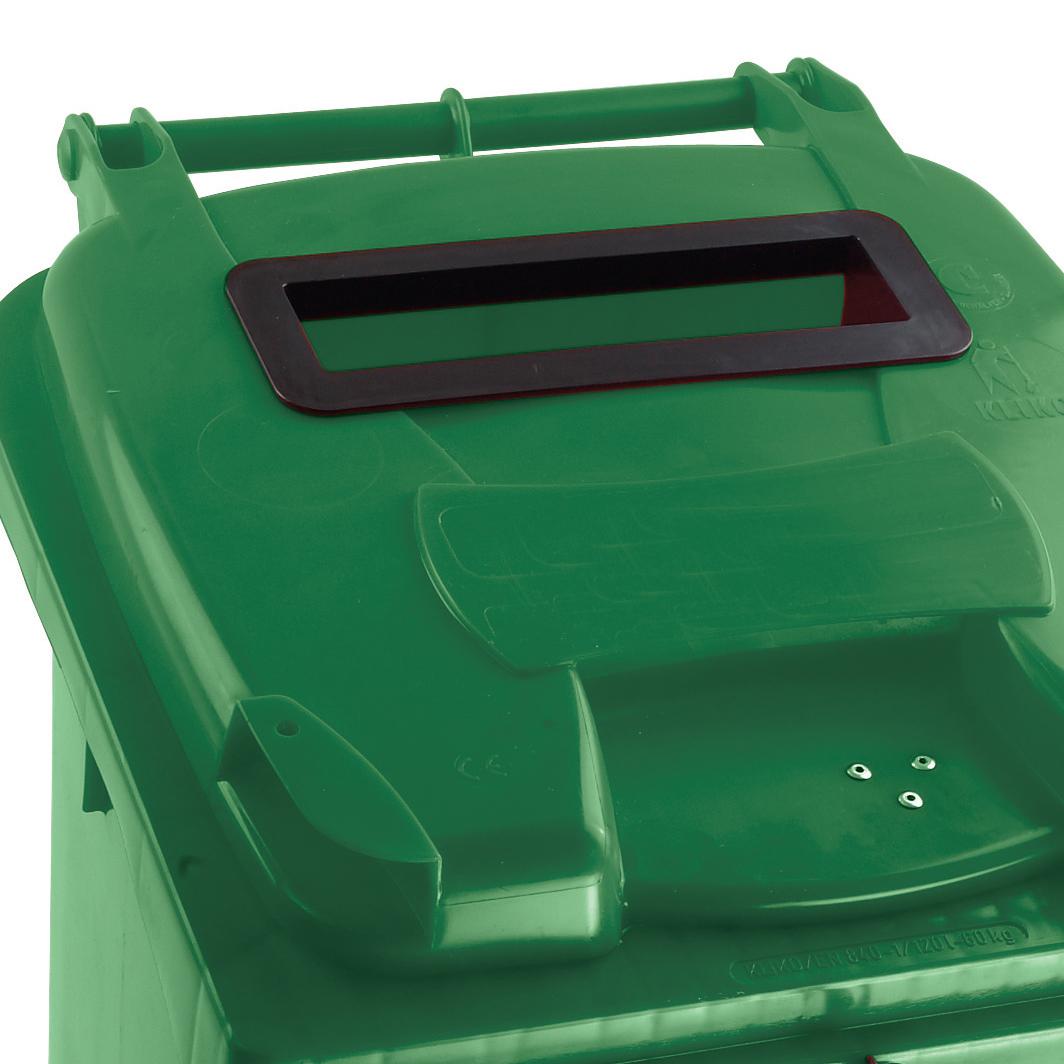 Wheeled Bin UV Stabilised Polyethylene with Rear Wheels Lid Lock 140 Litre Capacity 480x555x1070mm Green