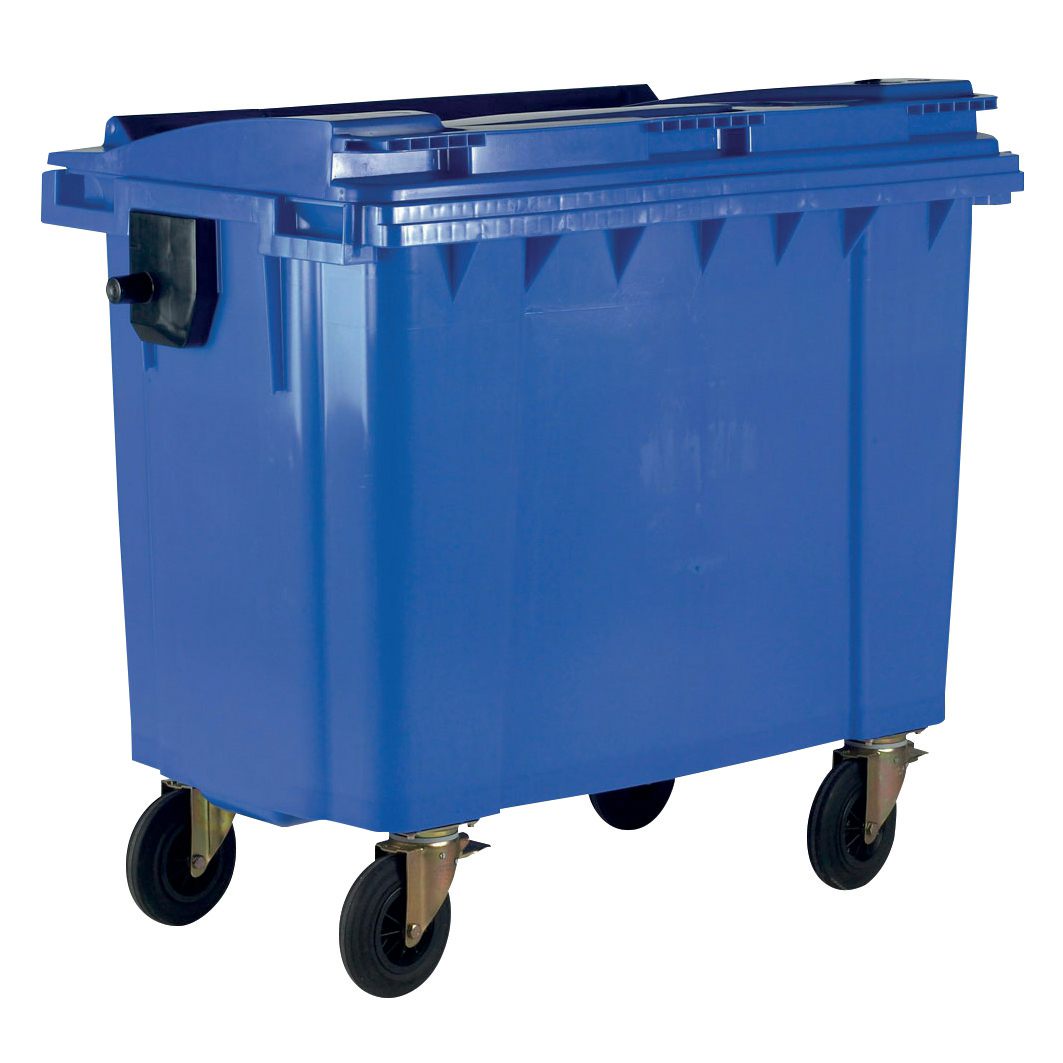 Rubbish Bins Four Wheeled Bin UV Stabilised Polyethylene 770 Litres 55kg 1350x770x1360mm Blue