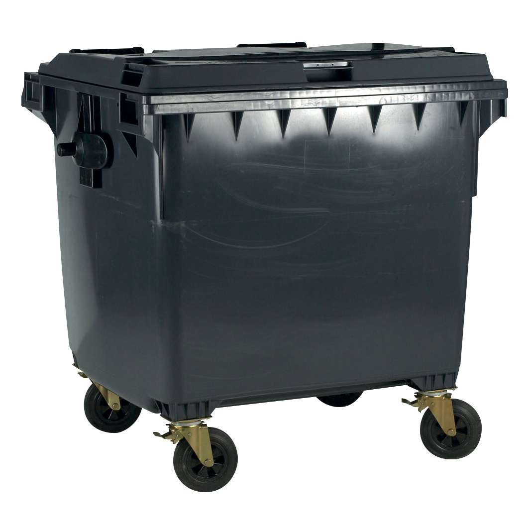 Four Wheeled Bin UV Stabilised Polyethylene 770 Litres 55kg 1350x770x1360mm Grey