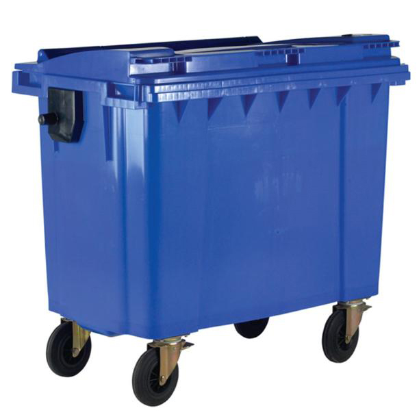 Rubbish Bins Four Wheeled Bin UV Stabilised Polyethylene 1100 Litres 67kg 1400x1200x1450mm Blue