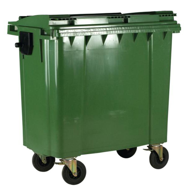 Four Wheeled Bin UV Stabilised Polyethylene 1100 Litres 67kg 1400x1200x1450mm Green