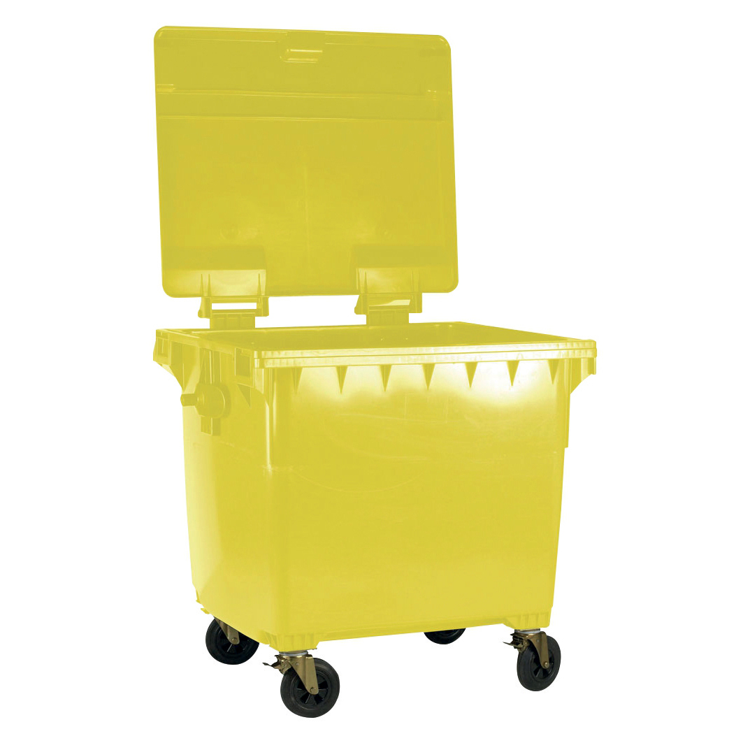 Rubbish Bins Four Wheeled Bin UV Stabilised Polyethylene 1100 Litres 67kg 1400x1200x1450mm Yellow