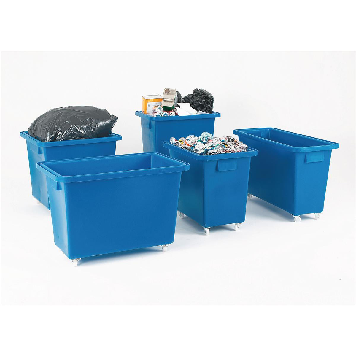 Recycling Bins Bottle Skip Four Castors Medium Density Polyethylene 930x340x550mm Royal Blue