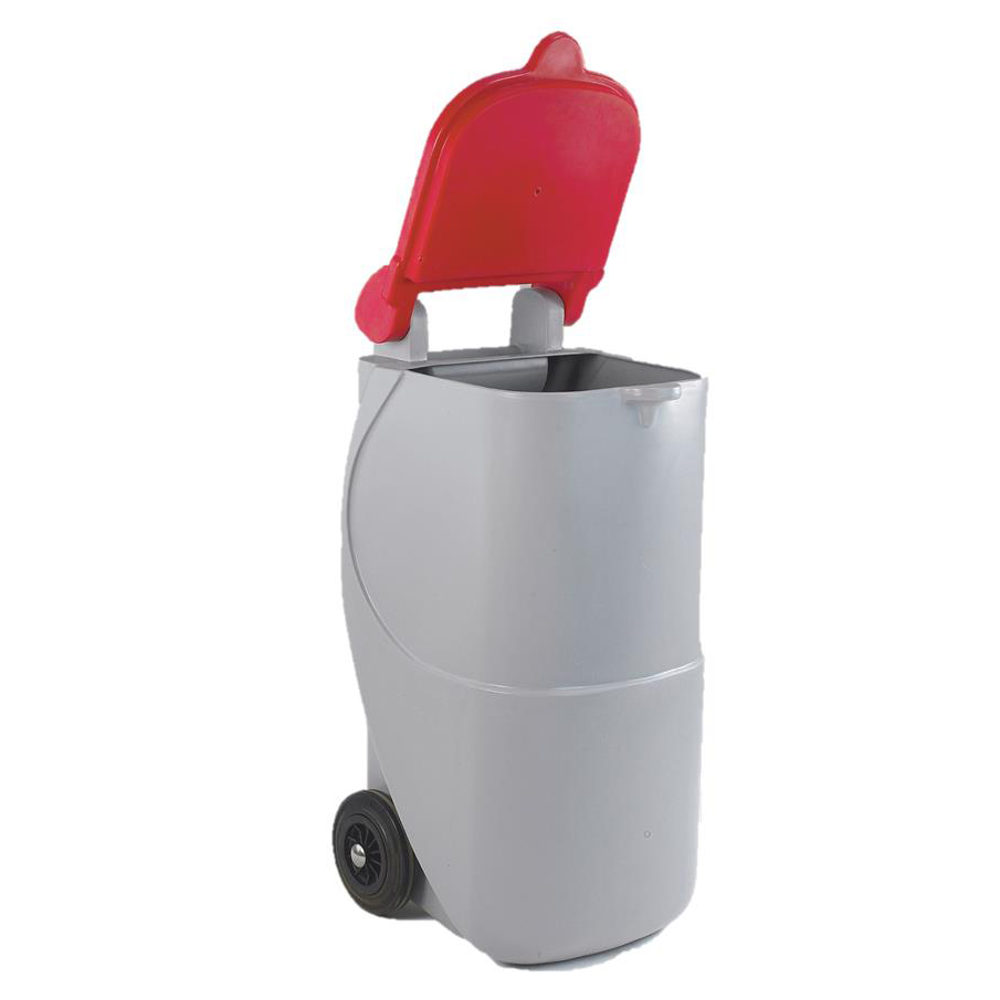 Designer Mobile Recycling Wheelie Bin for Cans 90 Litre Capacity 420x500x930mm Red