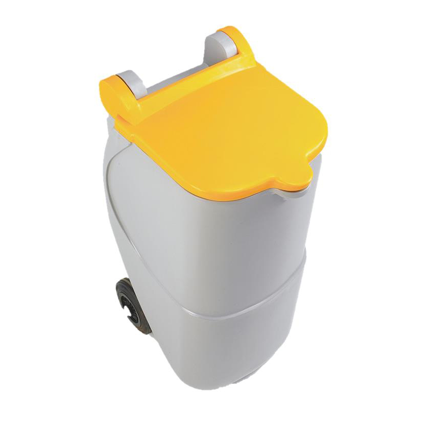 Recycling Bins Designer Mobile Recycling Wheelie Bin for Plastic 90 Litre Capacity 420x500x930mm Yellow