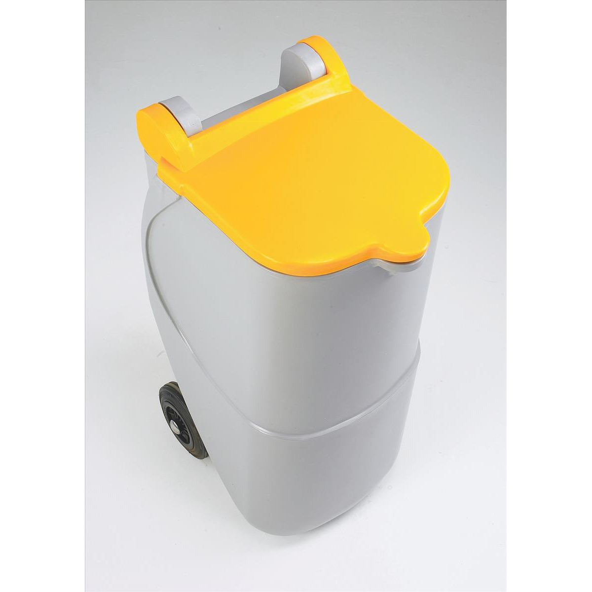 Designer Mobile Recycling Wheelie Bin for Plastic 90 Litre Capacity 420x500x930mm Yellow