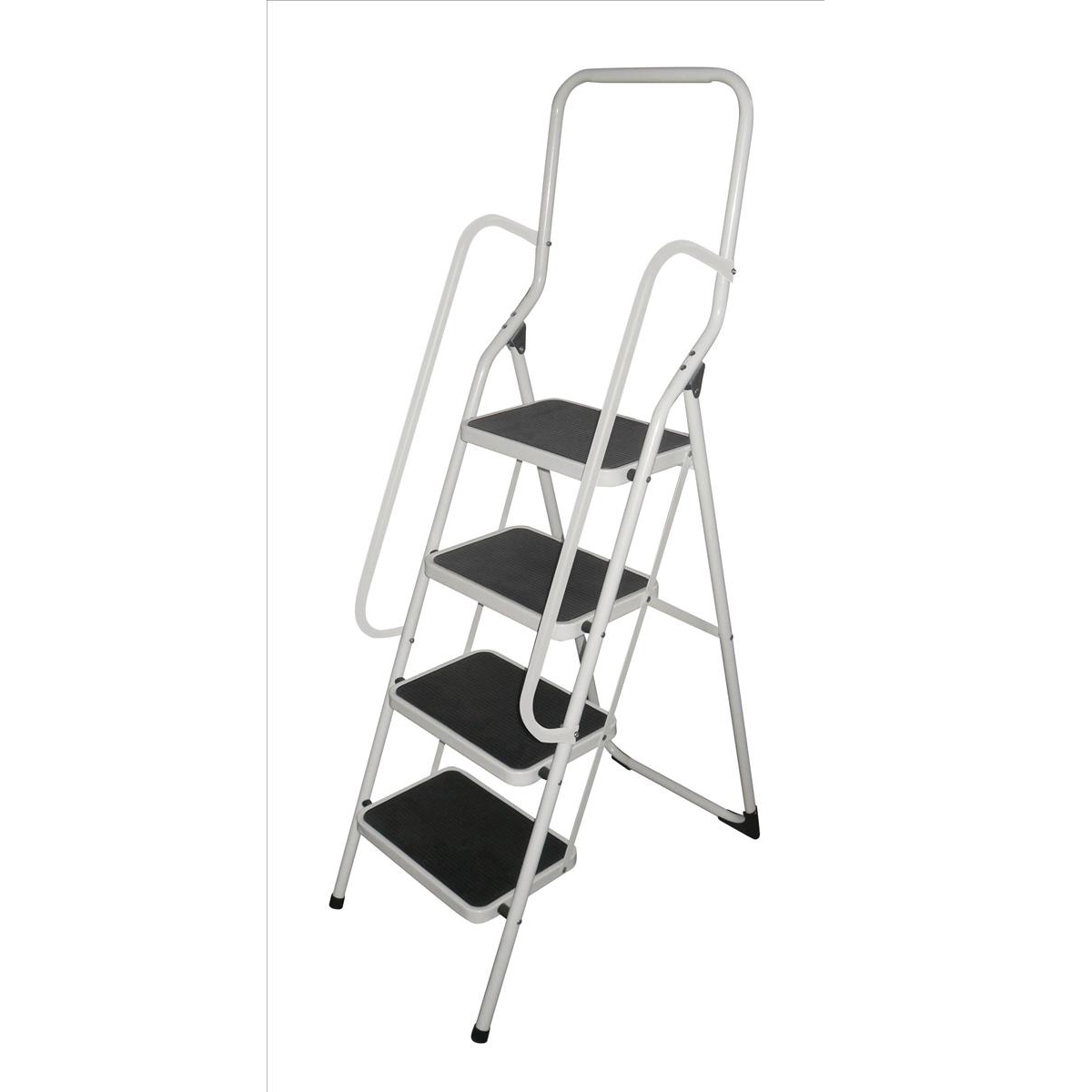 Cleaning Chemicals Metal Step Stool with Handrail 4 Step Folding Capacity 150kg White