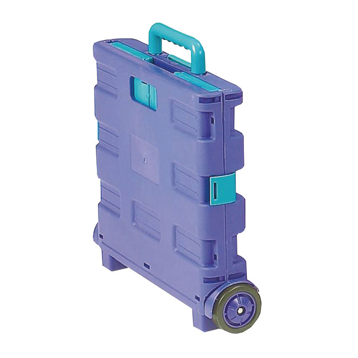 Folding Container Trolley Lightweight 25kg capacity 360x380x330mm Blue/Green