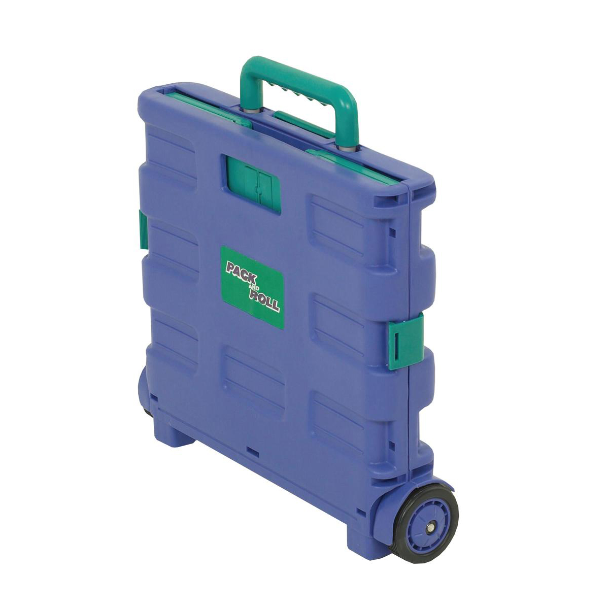 Folding Container Trolley with Lid Lightweight 25kg capacity 360x380x330mm Blue/Green