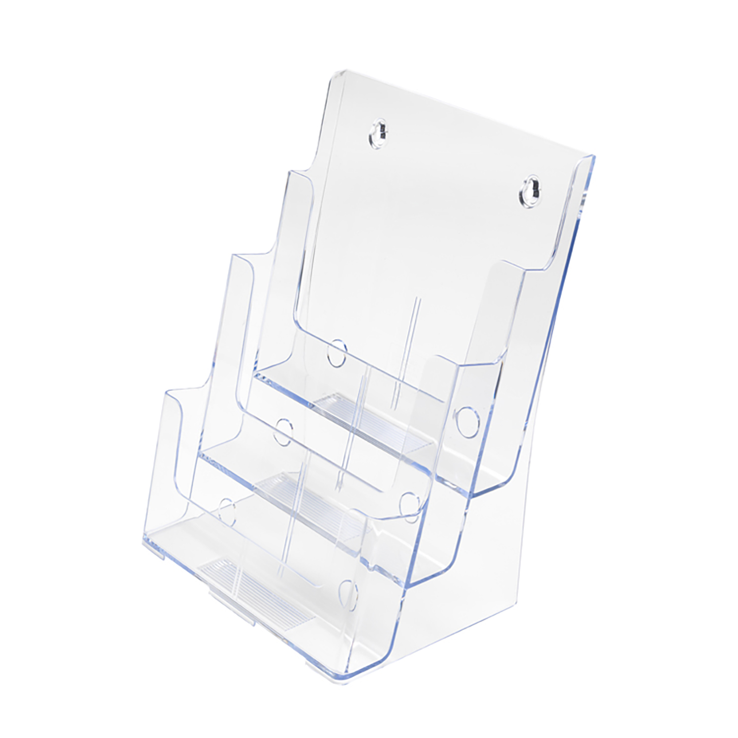 Literature Holders Literature Display Holder Multi Tier for Wall or Desktop 3 x A4 Pockets Clear