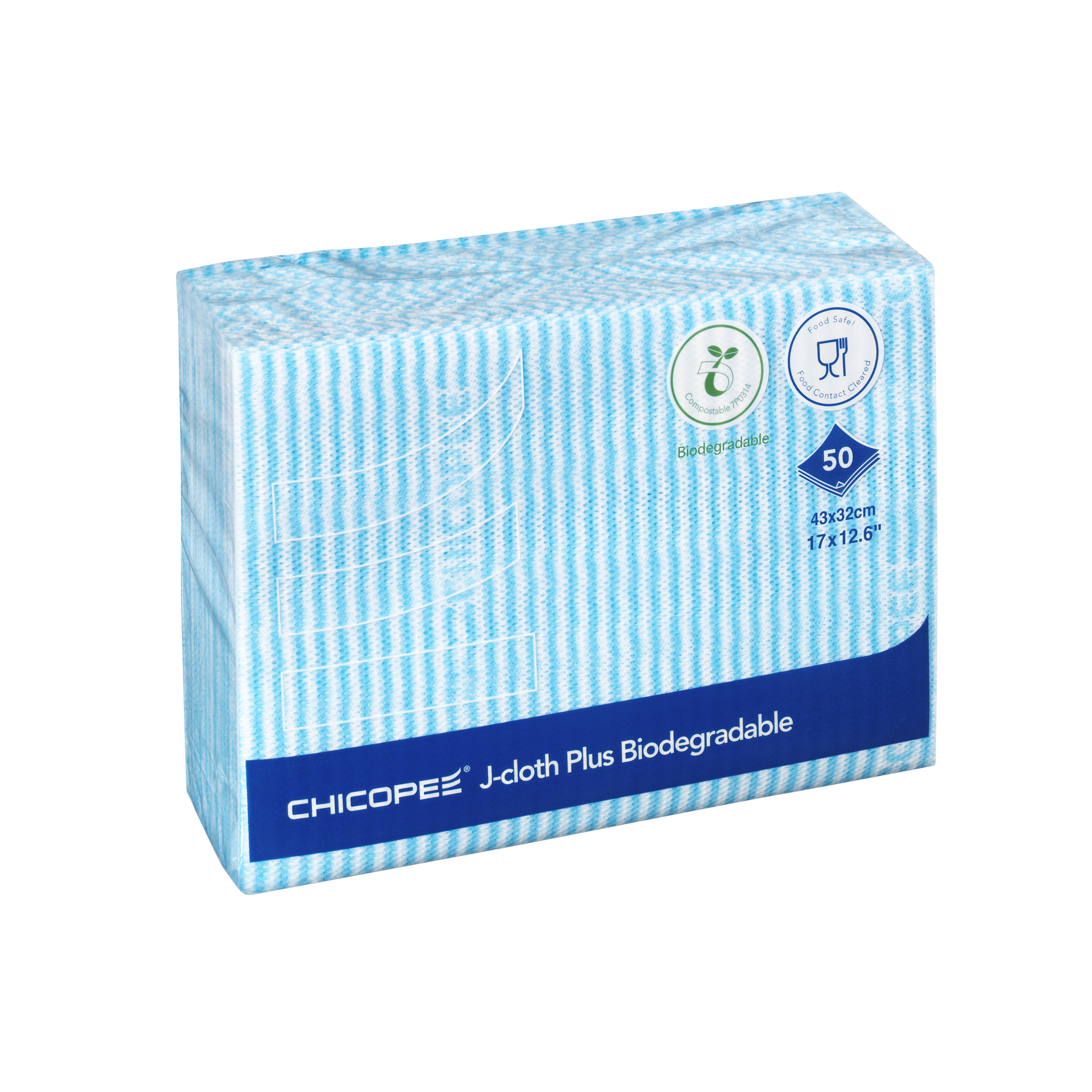 Cloths / Dusters / Scourers / Sponges Chicopee J-Cloth Plus Biodegradable 430x320mm Blue Ref 0707117 Pack 50