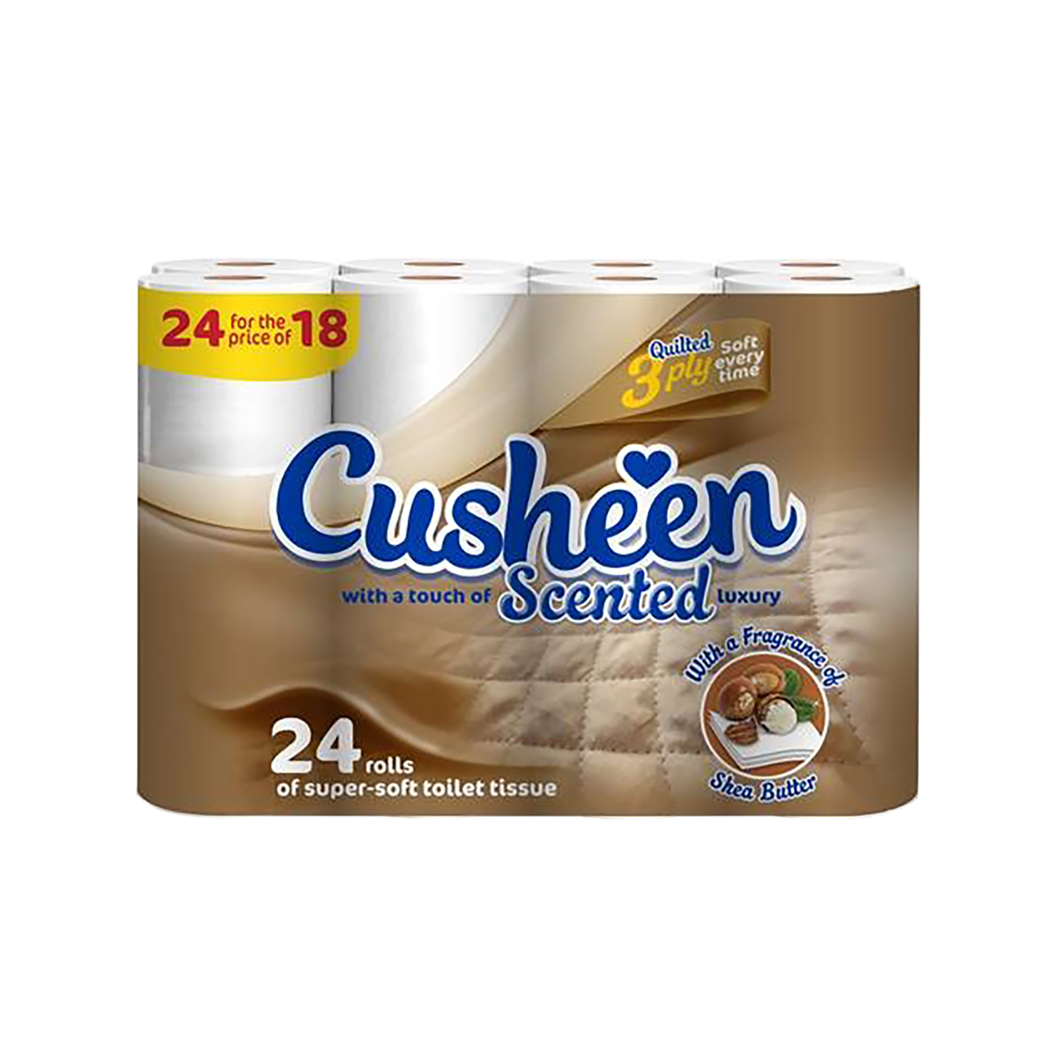 Disposable personal wipes Cusheen Scented Luxury Super Soft Toilet Rolls 3-Ply White Ref 1102030 Pack 24