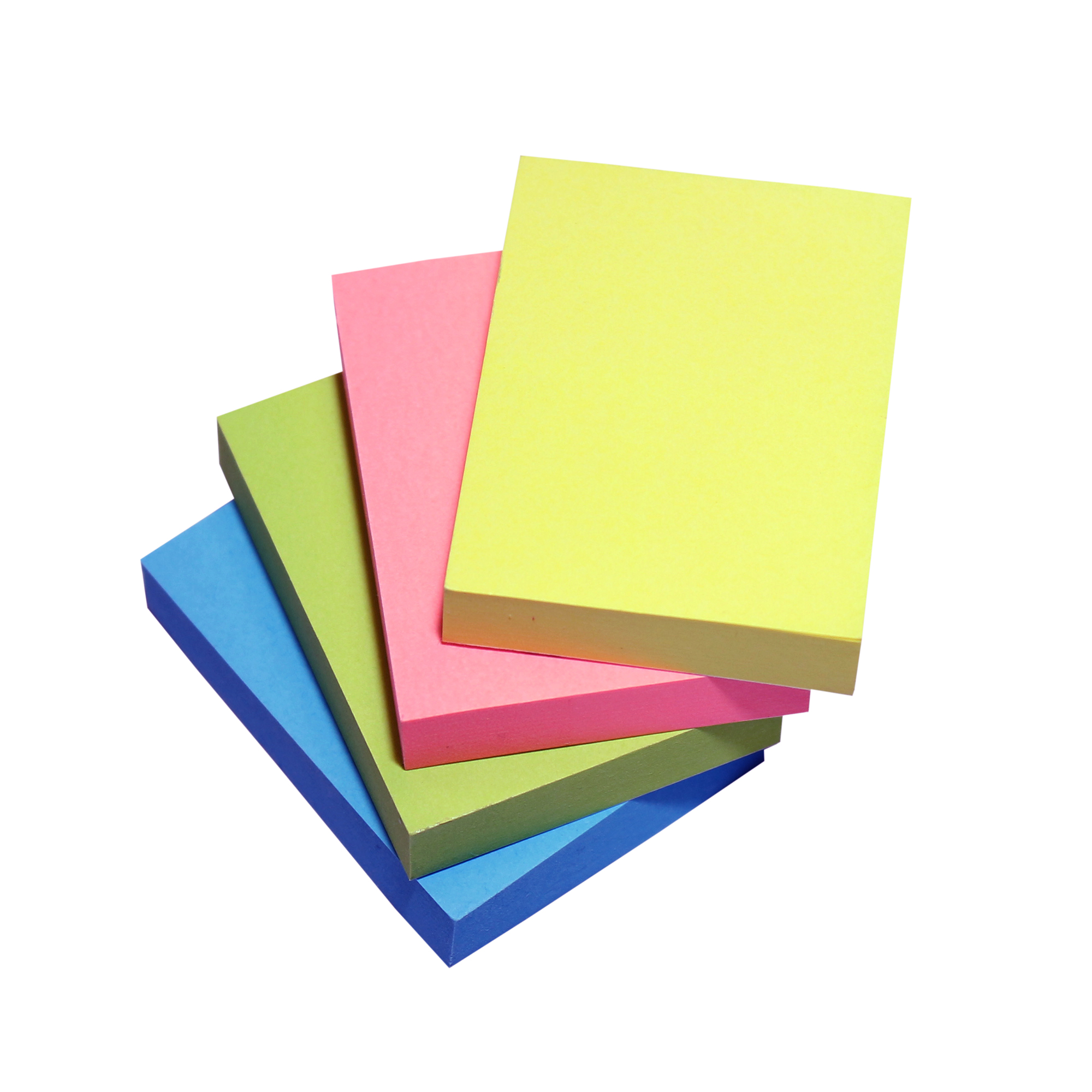 Self adhesive note paper 5 Star Respositionable Notes 70gsm 4 Neon Ass Colours Yellow Pink Blue Green 100 Sheets 38x51mm Pack 12