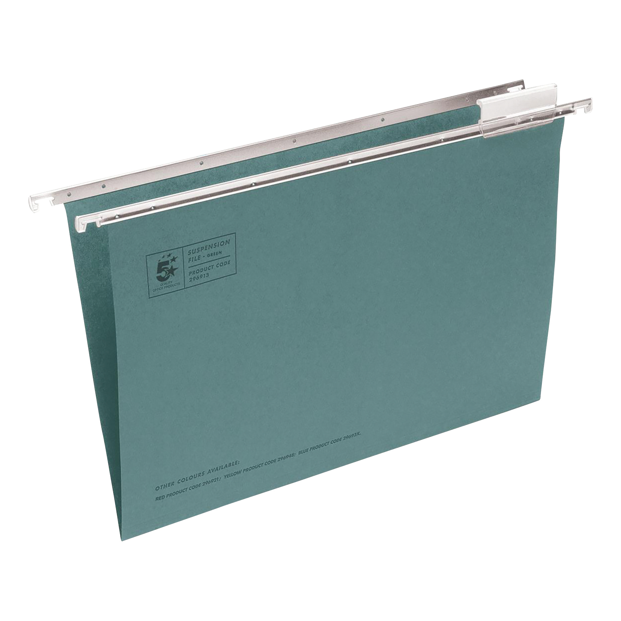 Suspension File 5 Star Office Suspension File with Tabs and Inserts Manilla 15mm V-base 180gsm Foolscap Green Pack 50