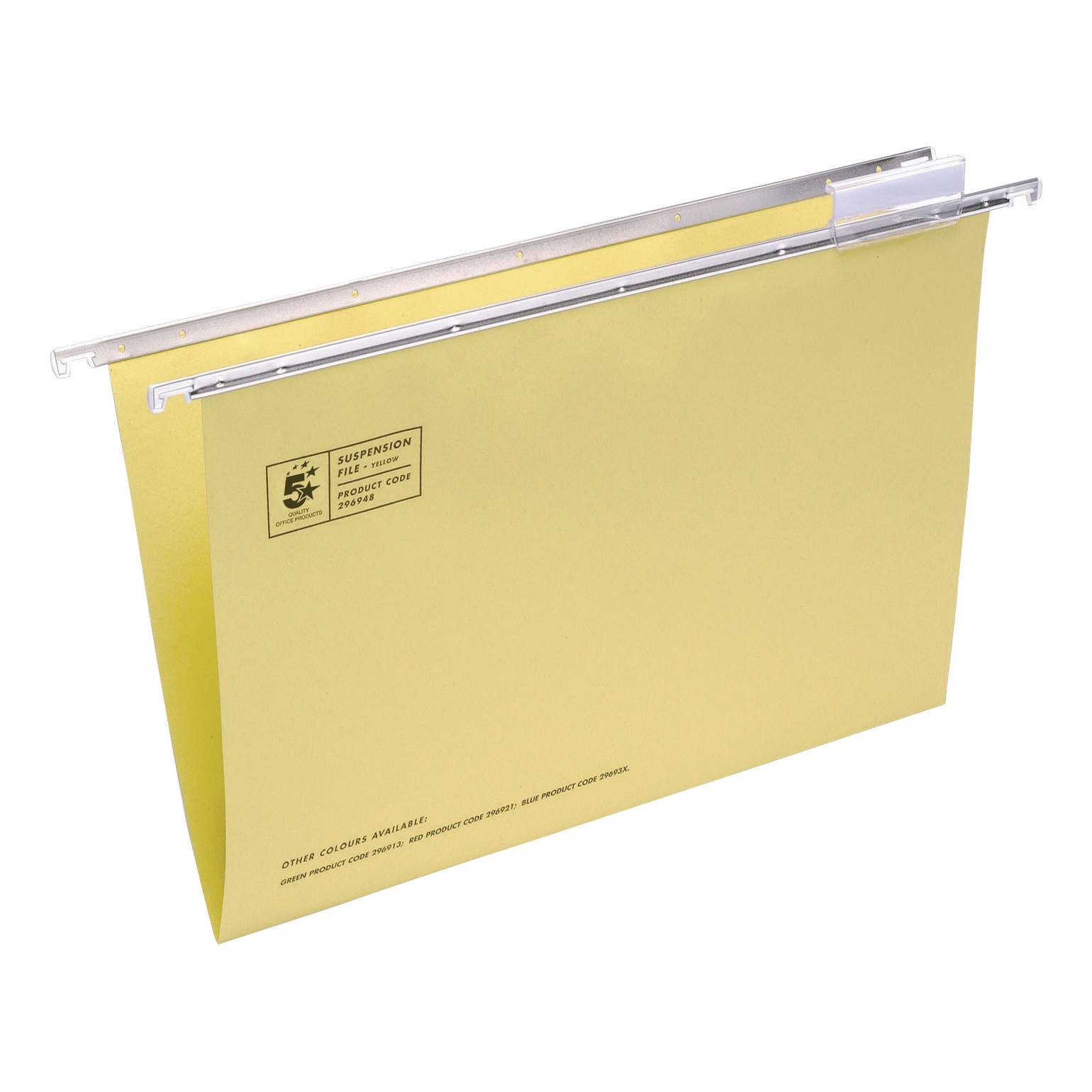 5 Star Office Suspension File with Tabs and Inserts Manilla 15mm V-base 180gsm Foolscap Yellow [Pack 50]