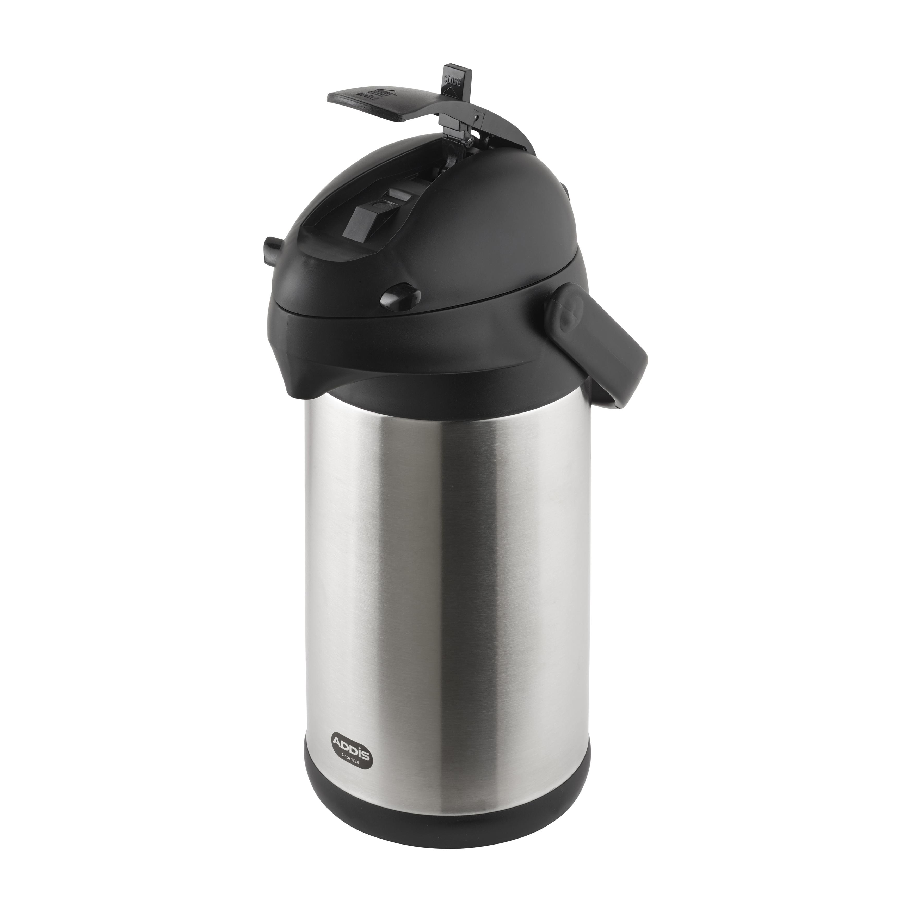 Addis Pump Pot Vacuum Jug 8 Hour Heat Retainer 3 Litre Capacity Stainless Steel Ref 517465