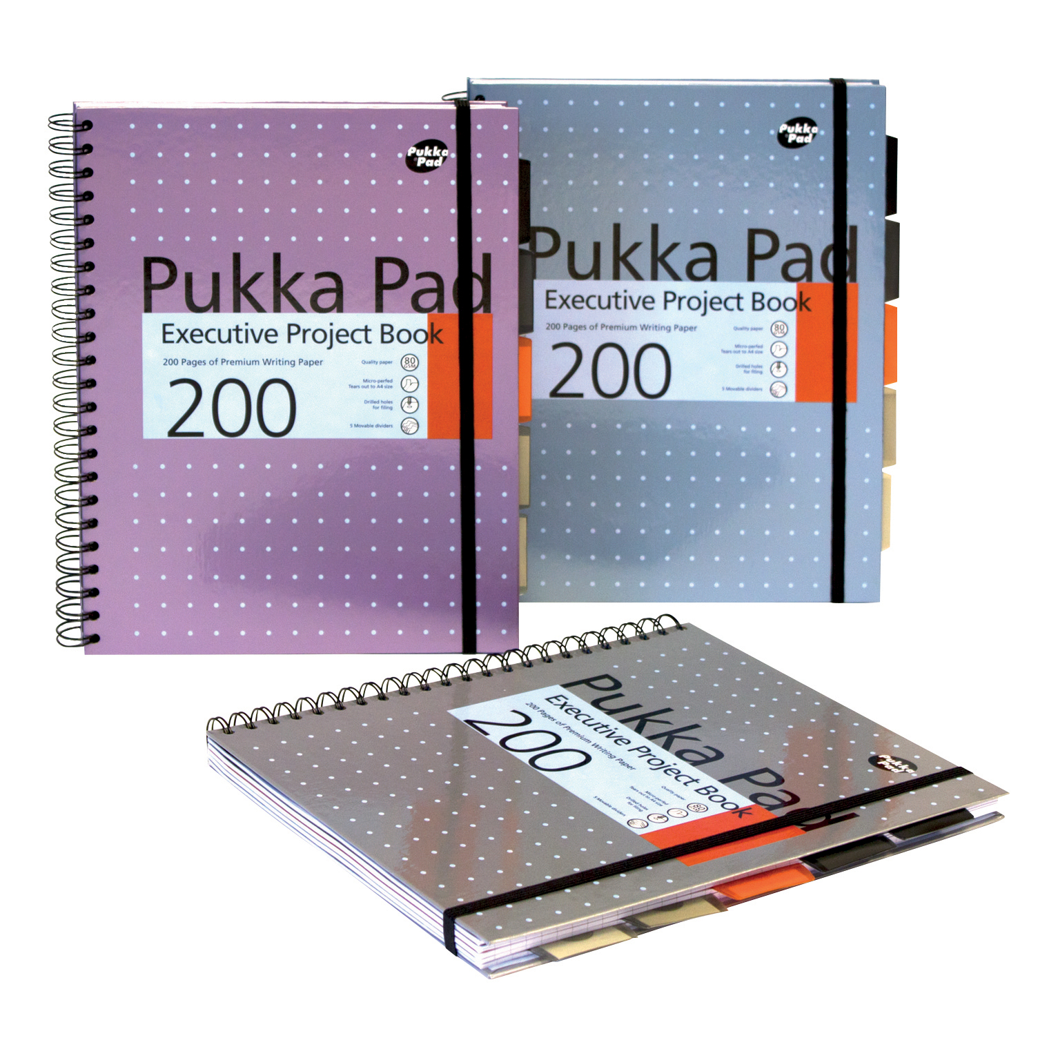 Pukka Pad Project Book Wirebound 200pp A4 Metallic Ref 6970-MET [Pack 3] [x2 & FREE Haribo] Jul-Sep 2018
