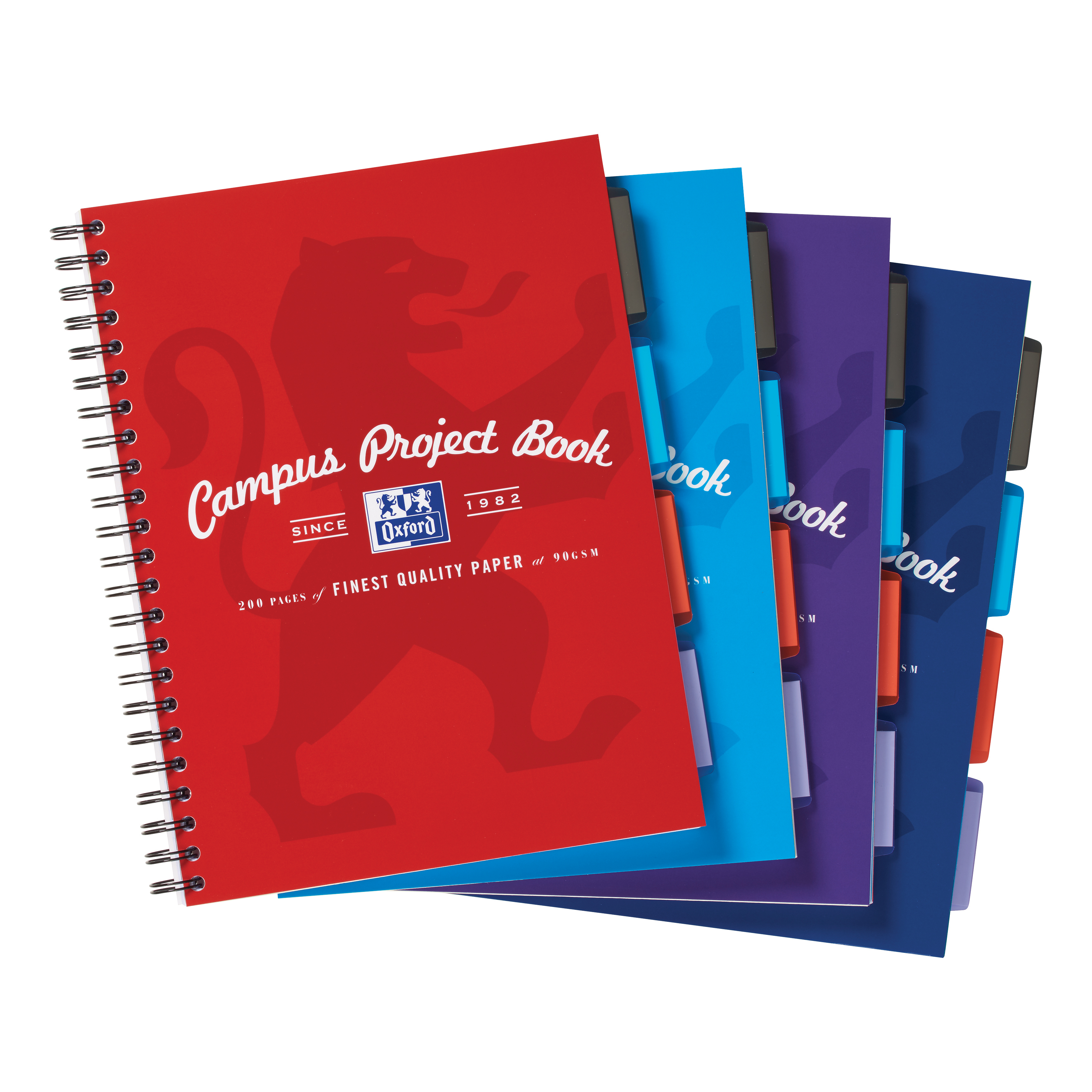 Oxford Campus Project Book Twinwire Ruled with Margin 90gsm 200pp A4+ Assorted Ref 400015503 [Pack 5]