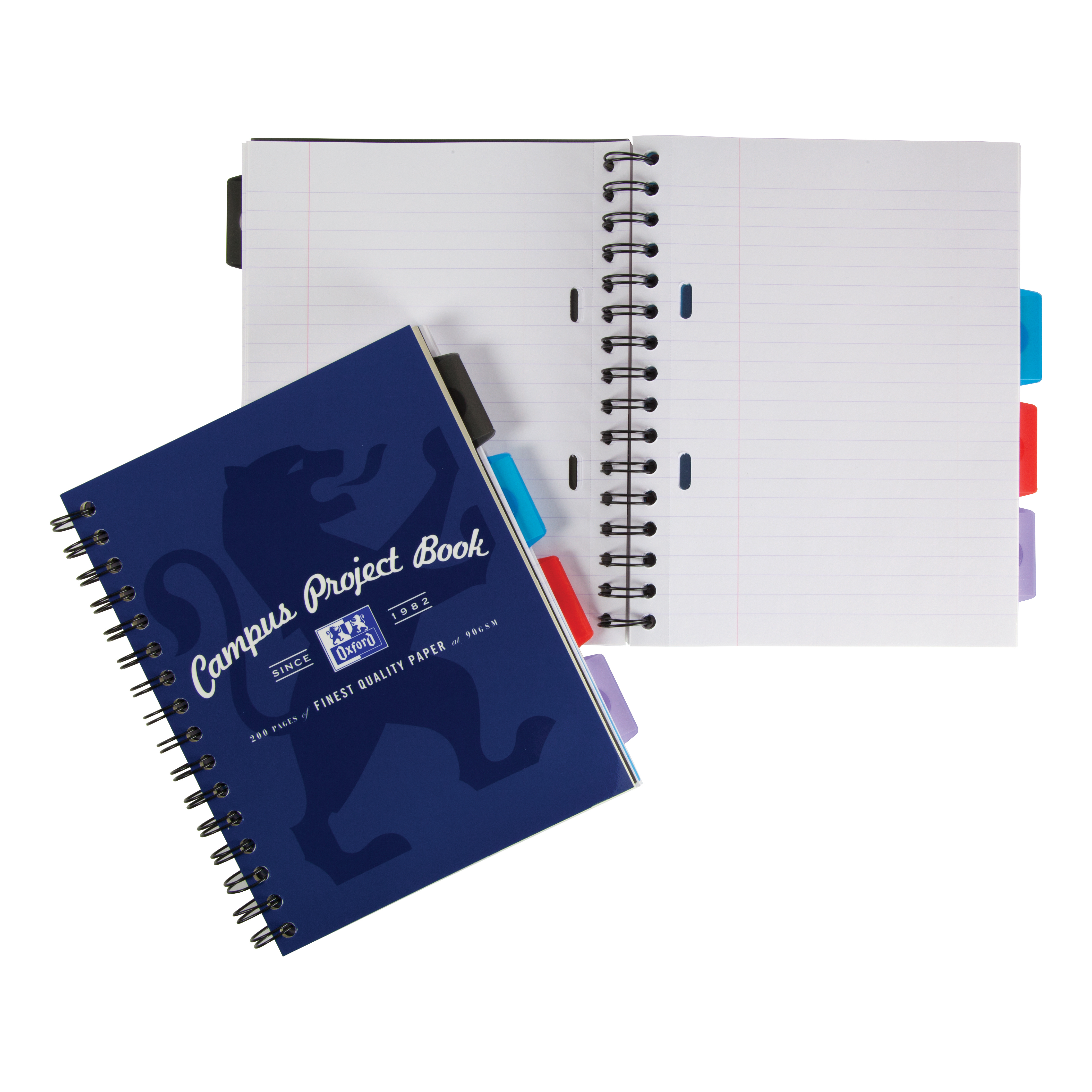 Oxford Campus Project Book Twinwire Ruled with Margin 90gsm 200pp A5+ Assorted Ref 400020082 [Pack 5]