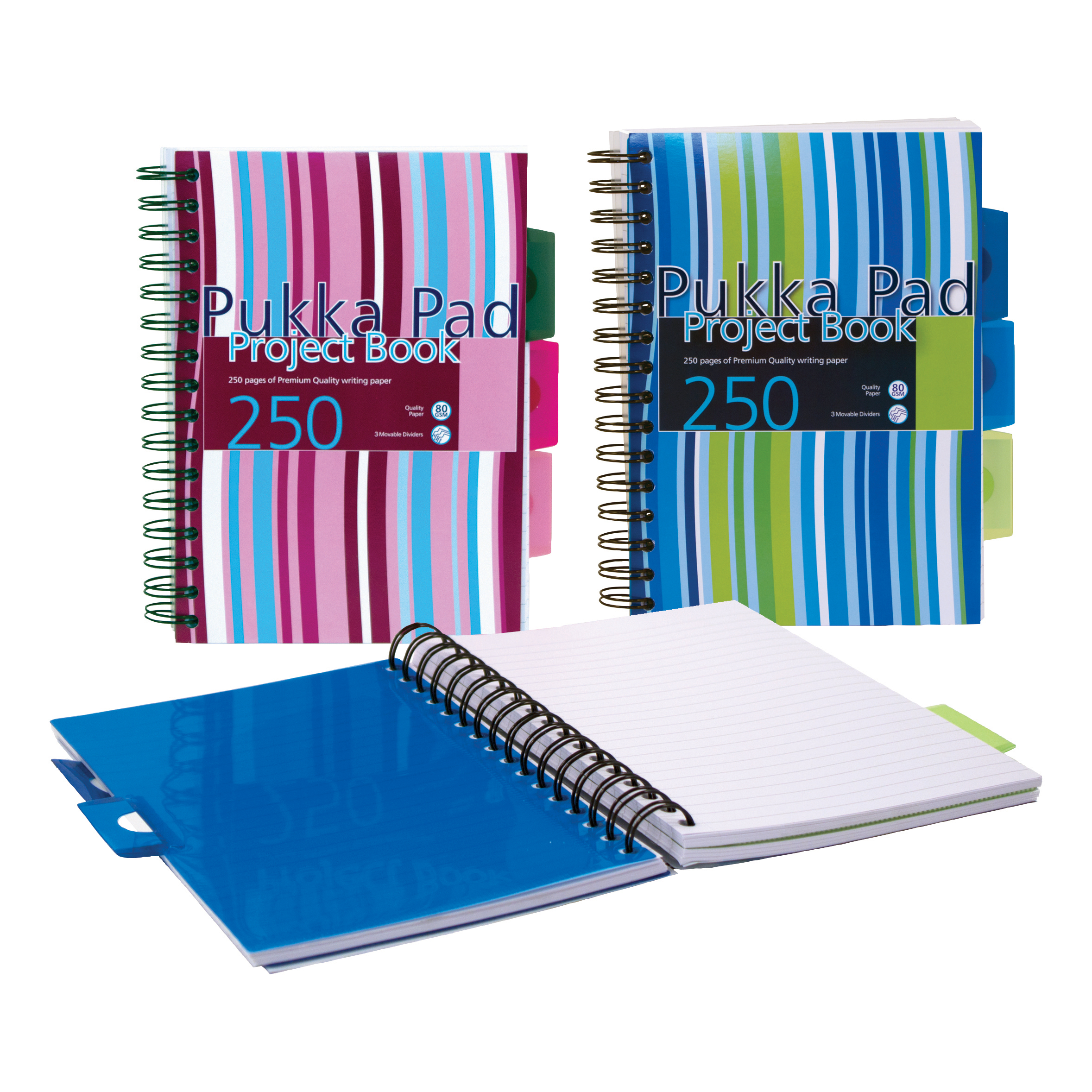 Pukka Pad Project Book Wirebound Perforated Ruled 3-Divider 80gsm 250pp A5 Assorted Ref PROBA5 Pack 3