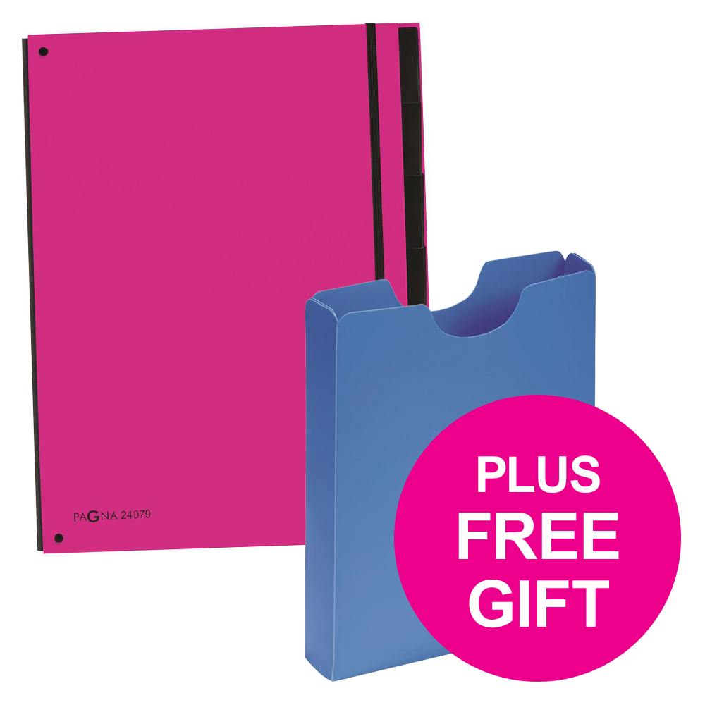 Pagna Master Organiser Hardback 12 Compartments A4 Pink Ref 2407934 Pack 8 FREE Case Jul-Sep 2018