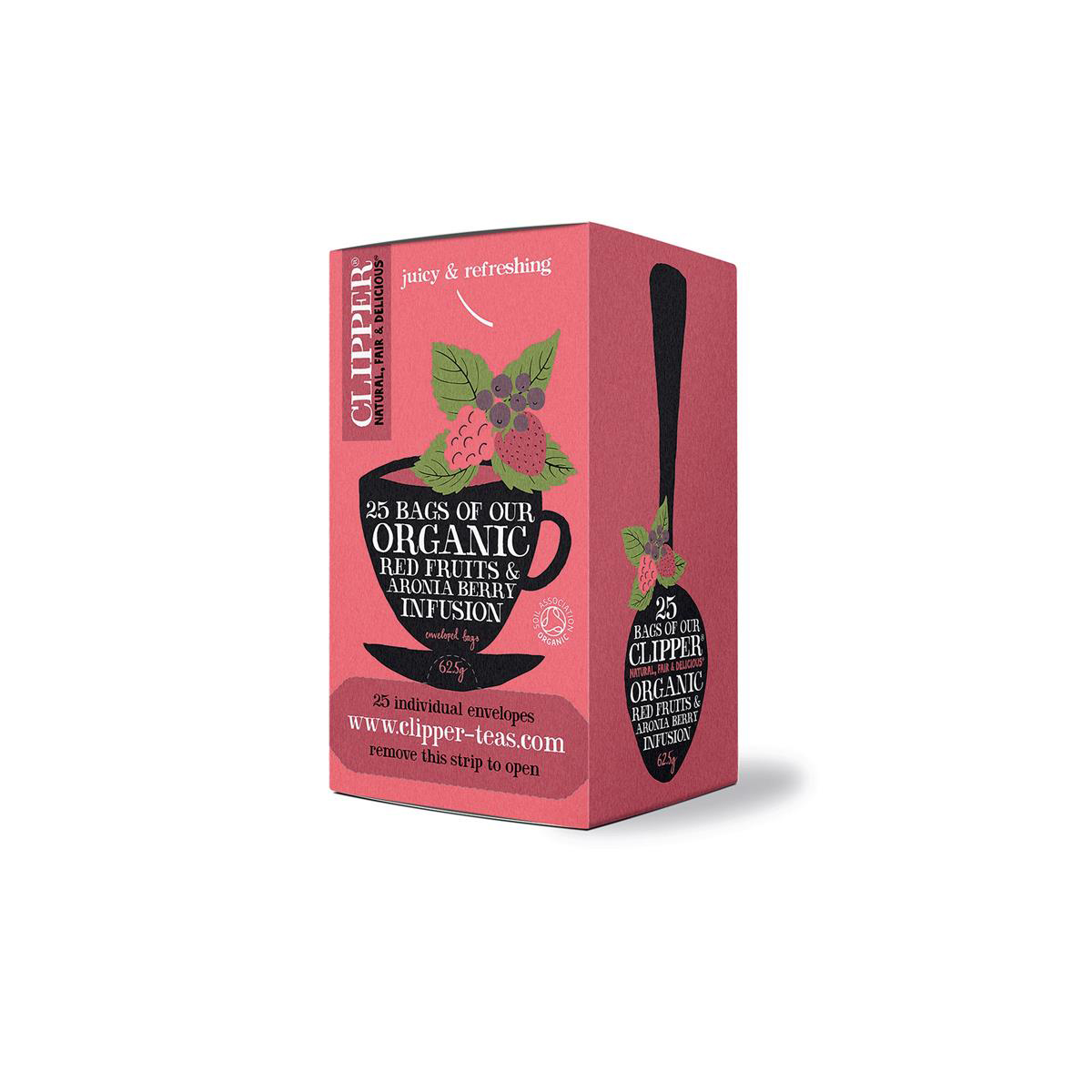 Clipper Organic Red Fruits and Aronia Tea Fairtrade Caffeine-free Teabags Ref 0403266 Pack 25