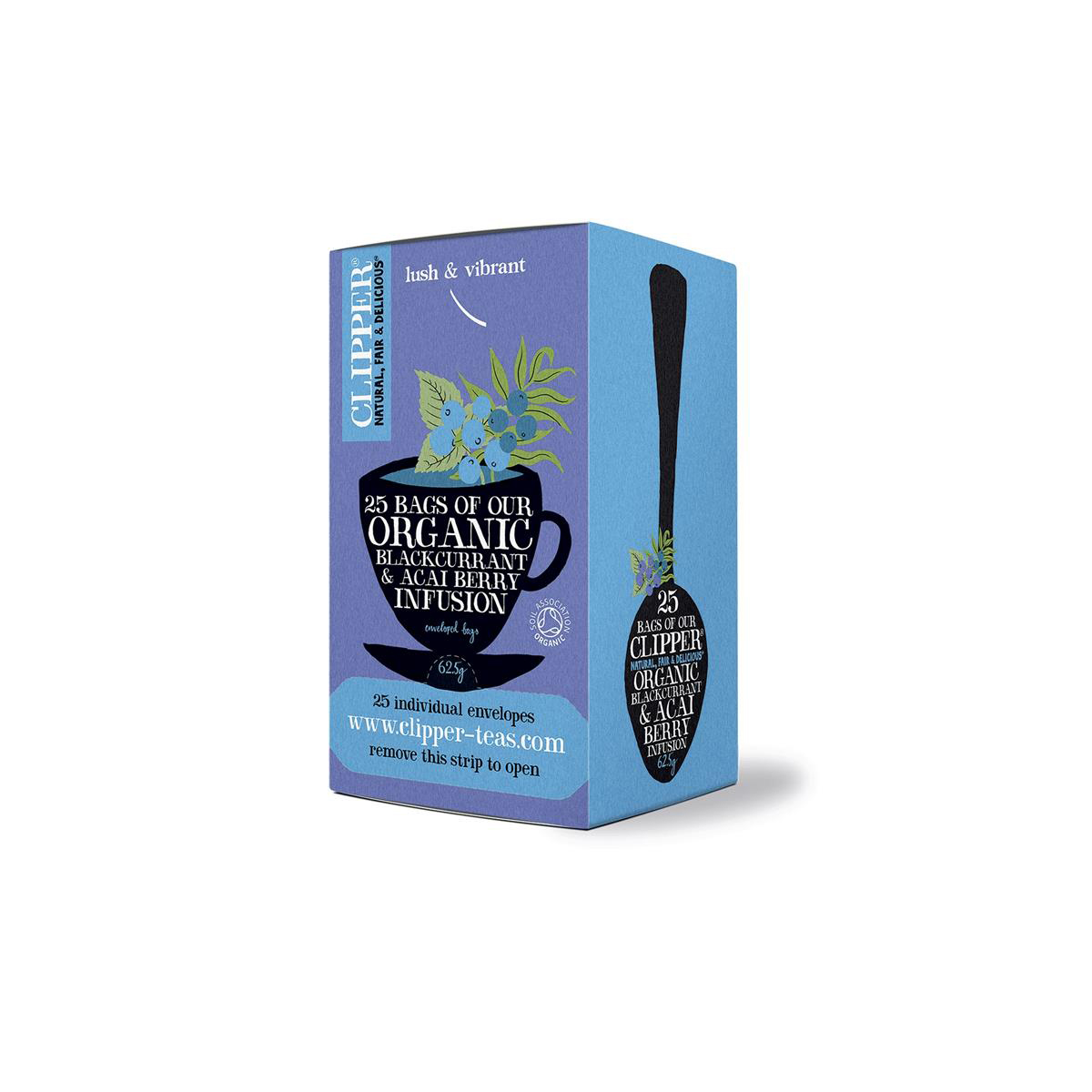 Clipper Organic Blackcurrant and Acai Berry Tea Fairtrade Caffeine-free Teabags Ref 0403267 Pack 25