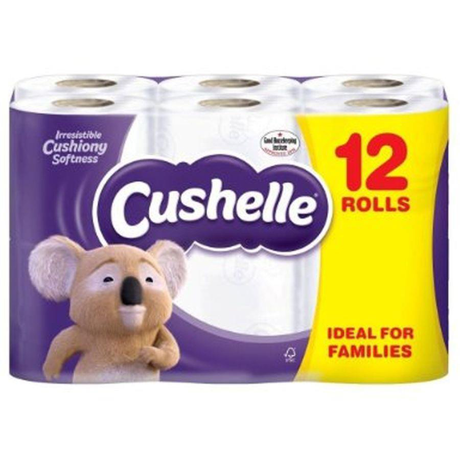 Cushelle Toilet Rolls 2-Ply 180 Sheets 120x104.5mm 21.6m White Ref 1102089 Pack 9 Plus 3 FREE