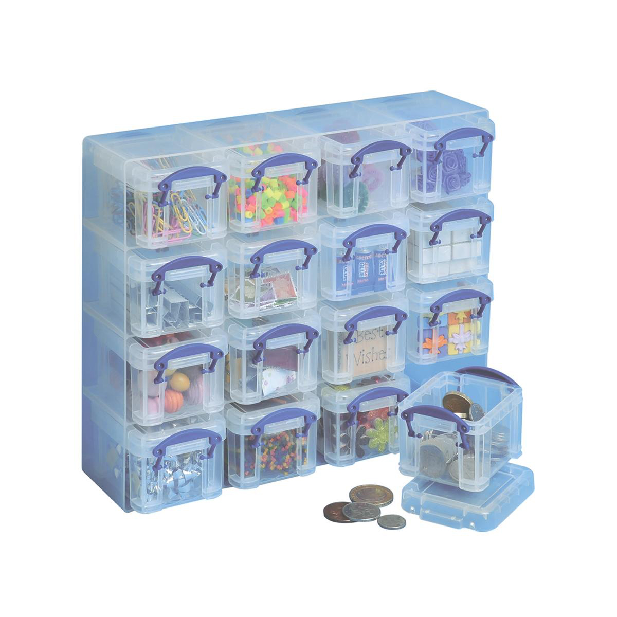 Storage Boxes Really Useful Organiser Set Polypropylene 16x0.14L Boxes and Tray W224xD280xH65mm Clear Ref 0.14x16CORG