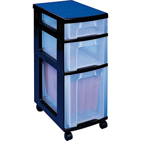 Storage Boxes Really Useful Storage Tower Polypropylene 3 Drawers 7L 12L 25L W300xD420xH690mm Black Clear Ref DT1021B