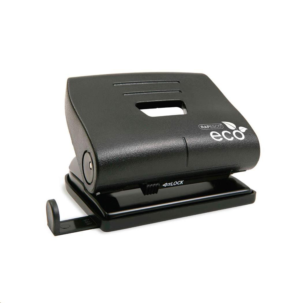 Hole Punches Rapesco Eco Punch 2-Hole Recycled ABS Casing Capacity 22x 80gsm Black Ref 1086