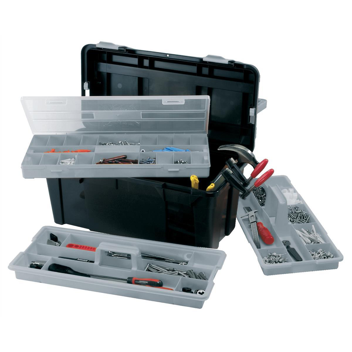 Raaco Toolbox 23 Inch with Two Removable Trays Black Ref 715195