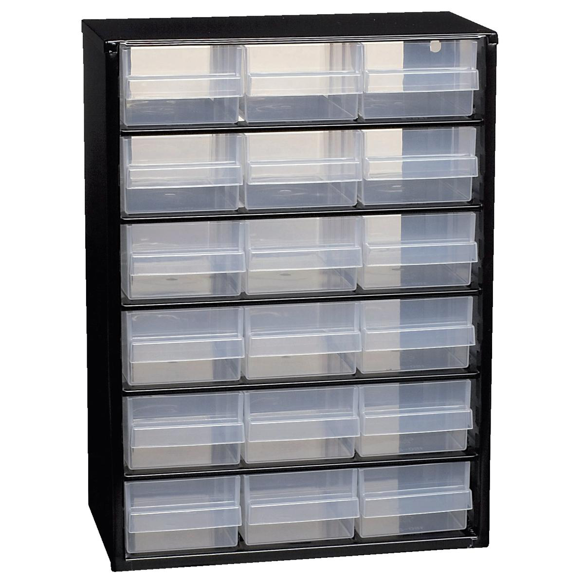Containers Raaco Steel Cabinet 18 Polypropylene Drawers Black Ref 132022
