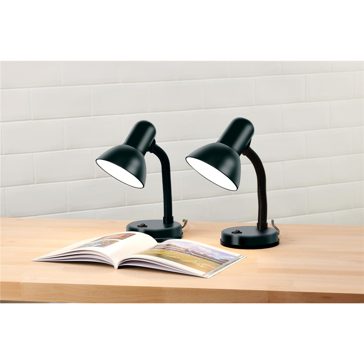 Desk Lamp Flexible Neck 35W Maximum Height of 340mm Base Size of 120x120x40mm Black