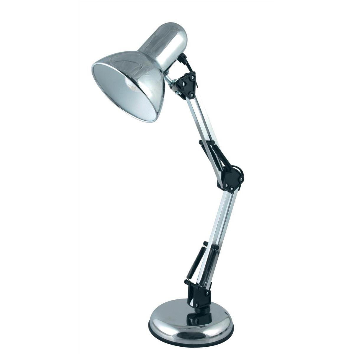 Desk Lamp Adjustable Arm 40W Maximum Height of 520mm Base Size of 150x150x40mm Polished Chrome