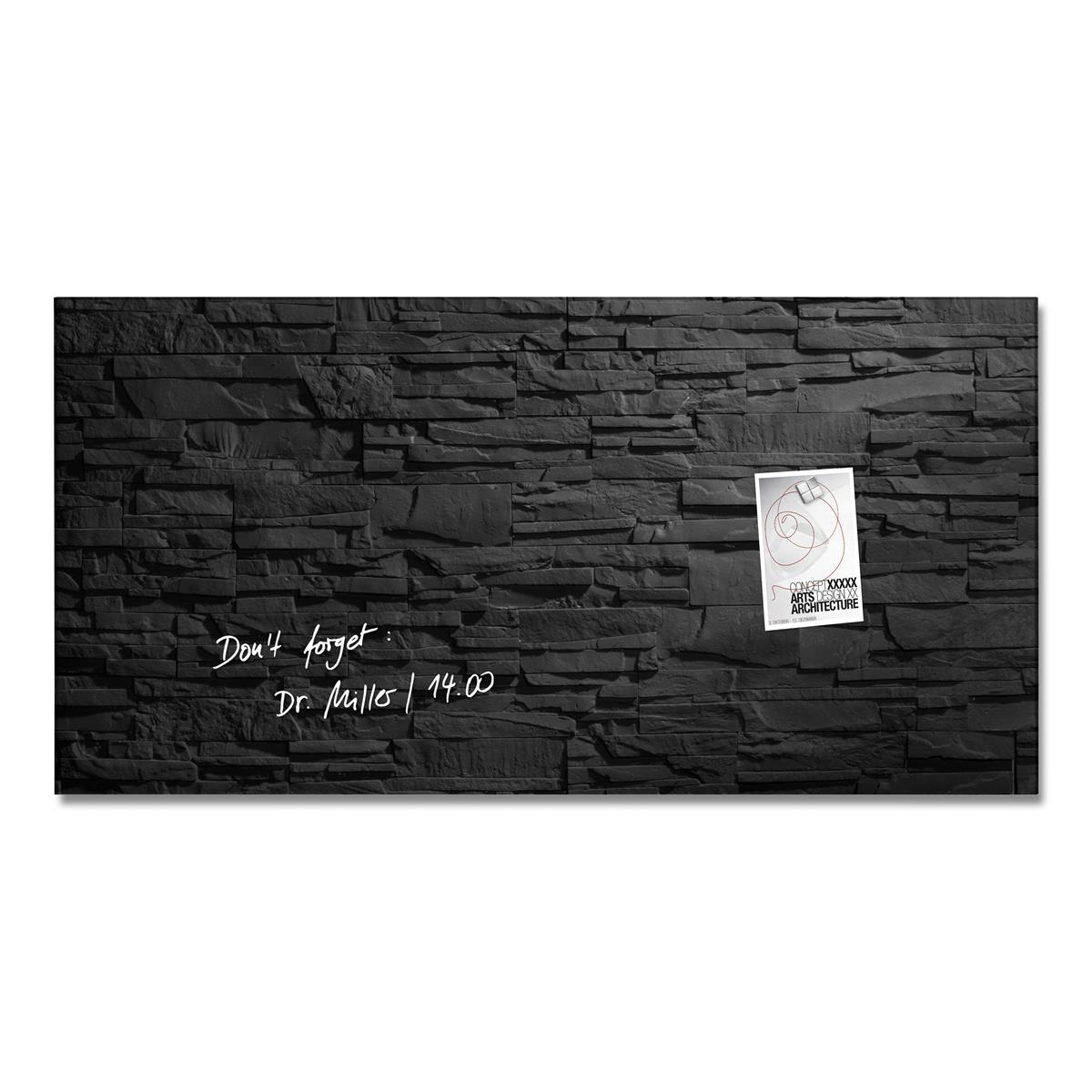 Sigel Artverum High Quality Tempered Glass Magnetic Board With Fixings 910x460mm Slate Ref GL149