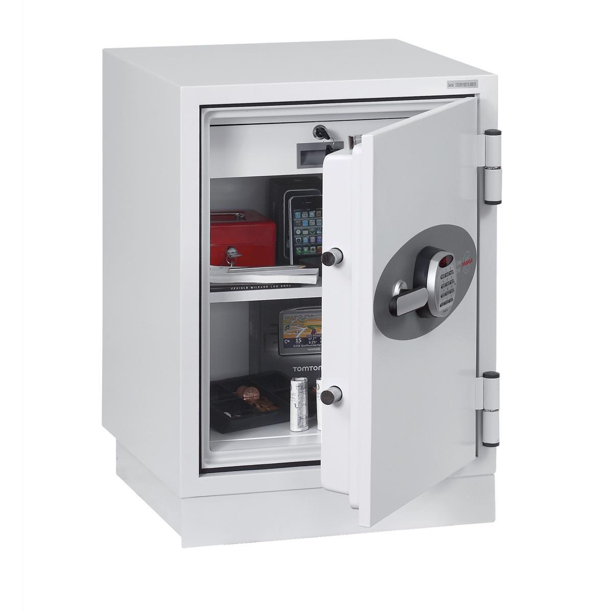 Safes Phoenix Fire Fighter II Safe Electronic Lock 93kg 63 Litre White Ref FS0441E