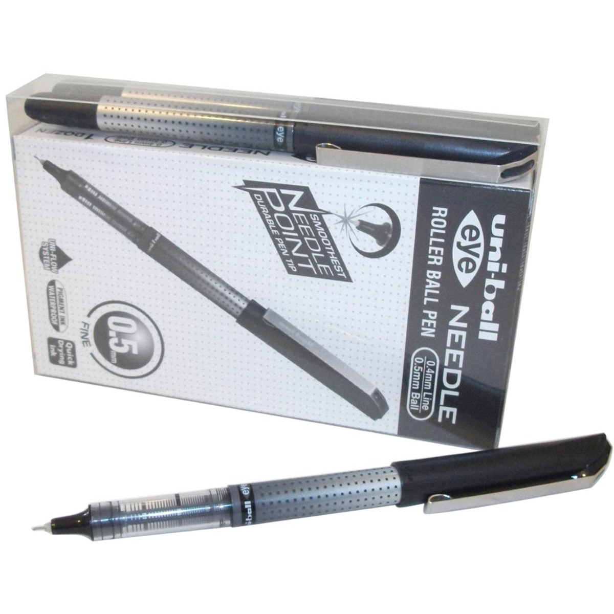 Uni-ball UB-185S Eye Needle Pen Stainless Steel Point Micro 0.5mm Tip Black Ref 153528382[Pack 14 for 12]