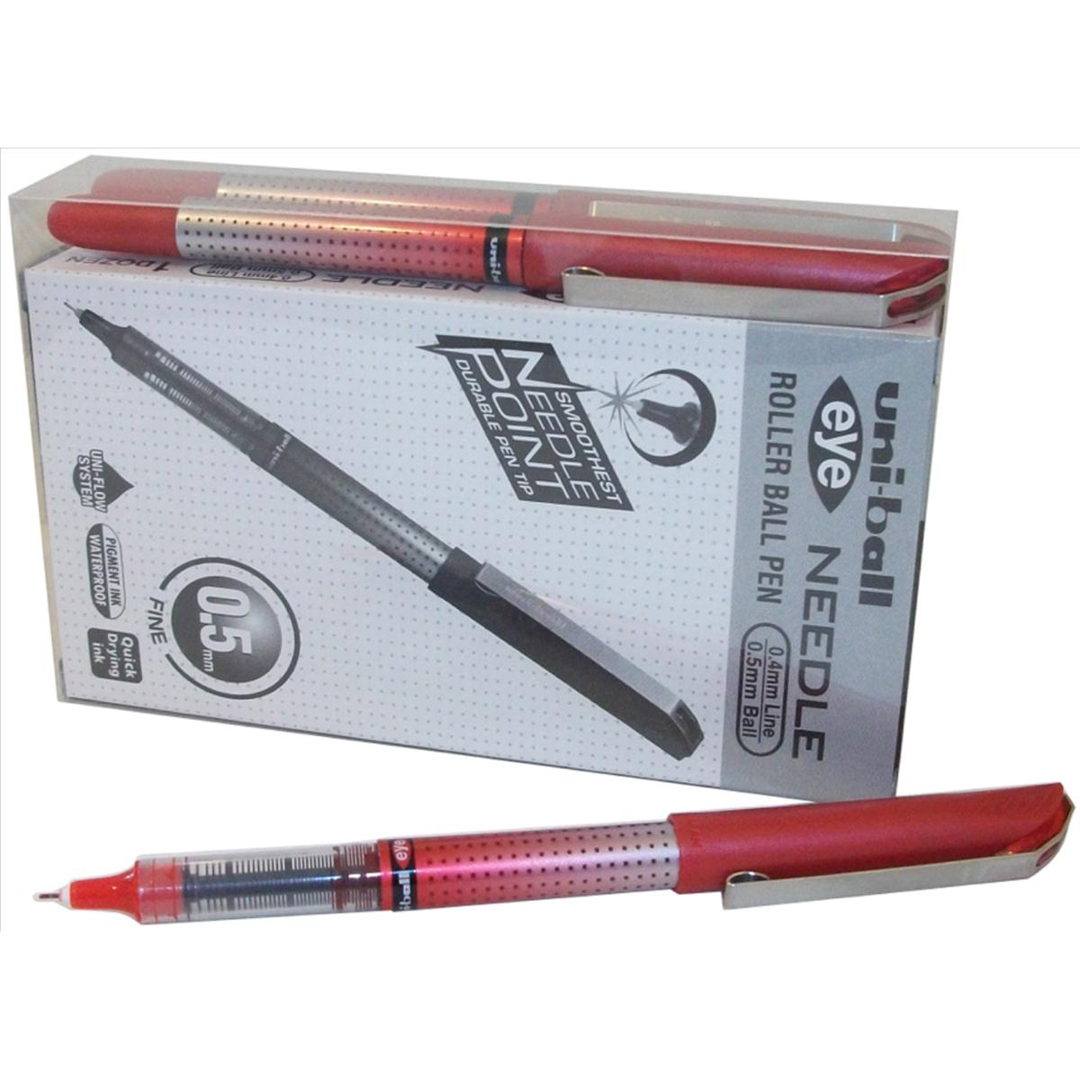 Uni-ball UB-185S Eye Needle Pen Stainless Steel Point Micro 0.5mm Tip Red Ref 153528384 [Pack 14 for 12]