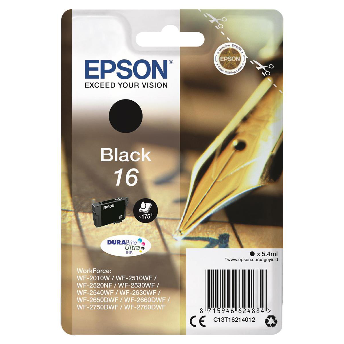 Epson 16 Inkjet Cartridge Pen & Crossword Page Life 175pp 5.4ml Black Ref C13T16214012