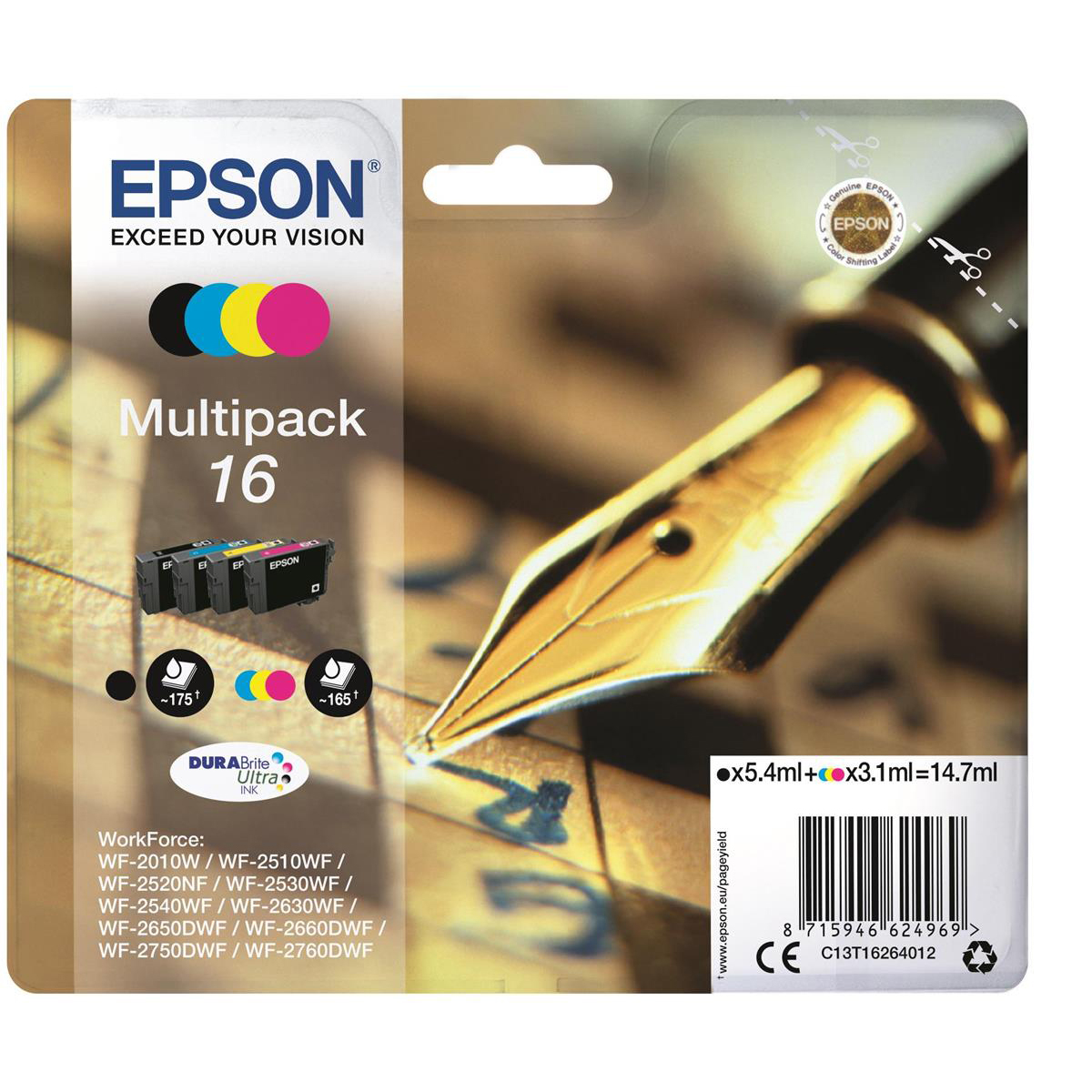 Epson 16 IJCart Pen&Crossword Cyan/Magenta/Yell 165pp3.3ml/Blk175pp 5.4ml Ref C13T16264012 [Pack4]