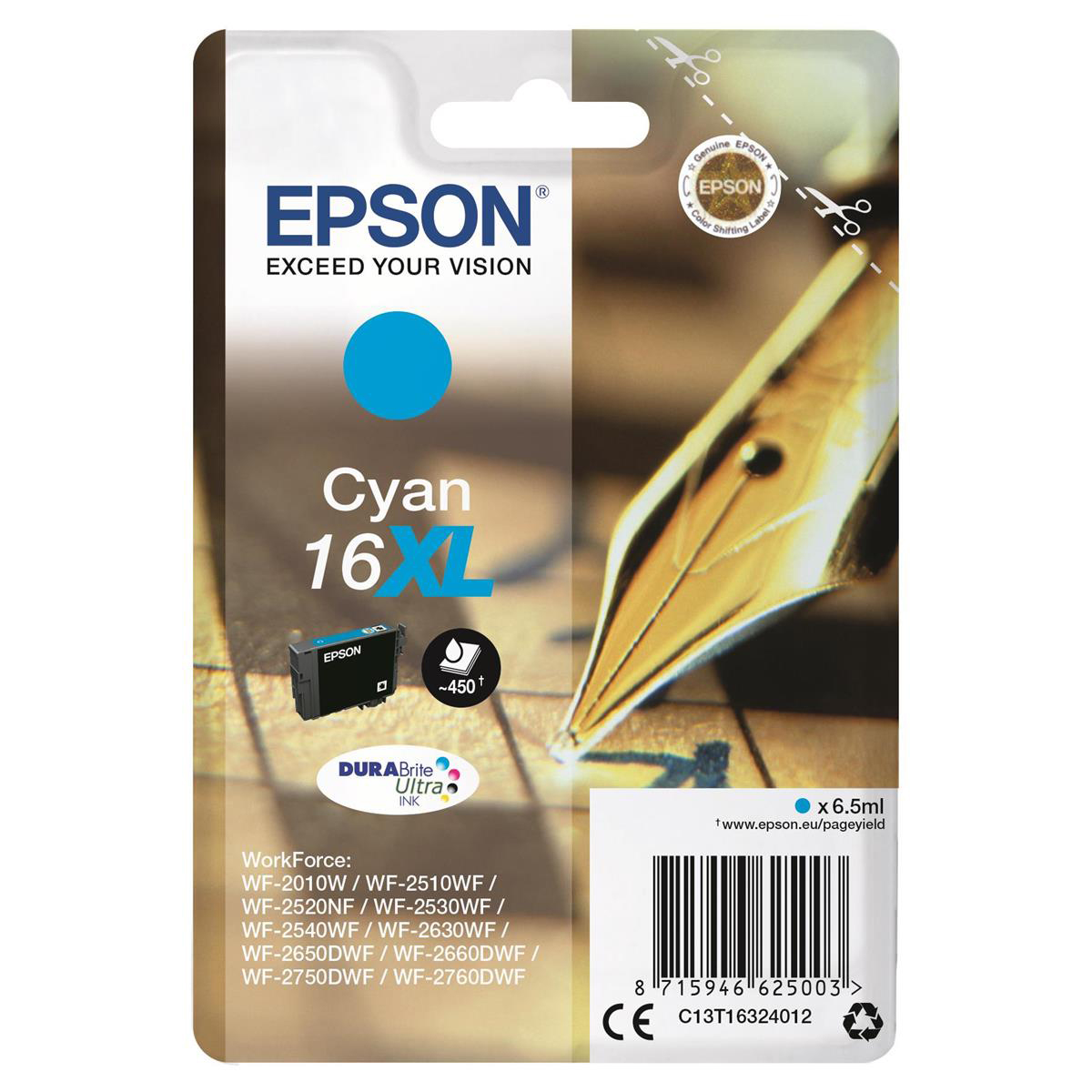 Epson 16XL Inkjet Cartridge Pen & Crossword High Yield Page Life 450pp 6.5ml Cyan Ref C13T16324012