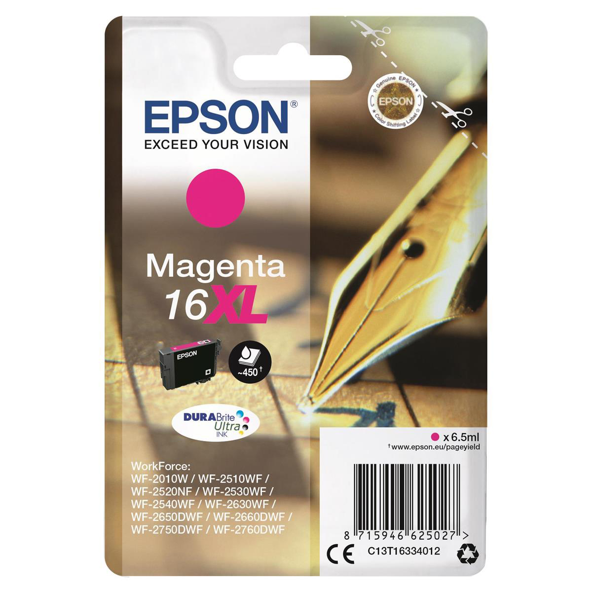 Epson 16XL Inkjet Cartridge Pen & Crossword High Yield Page Life 450pp 6.5ml Magenta Ref C13T16334012