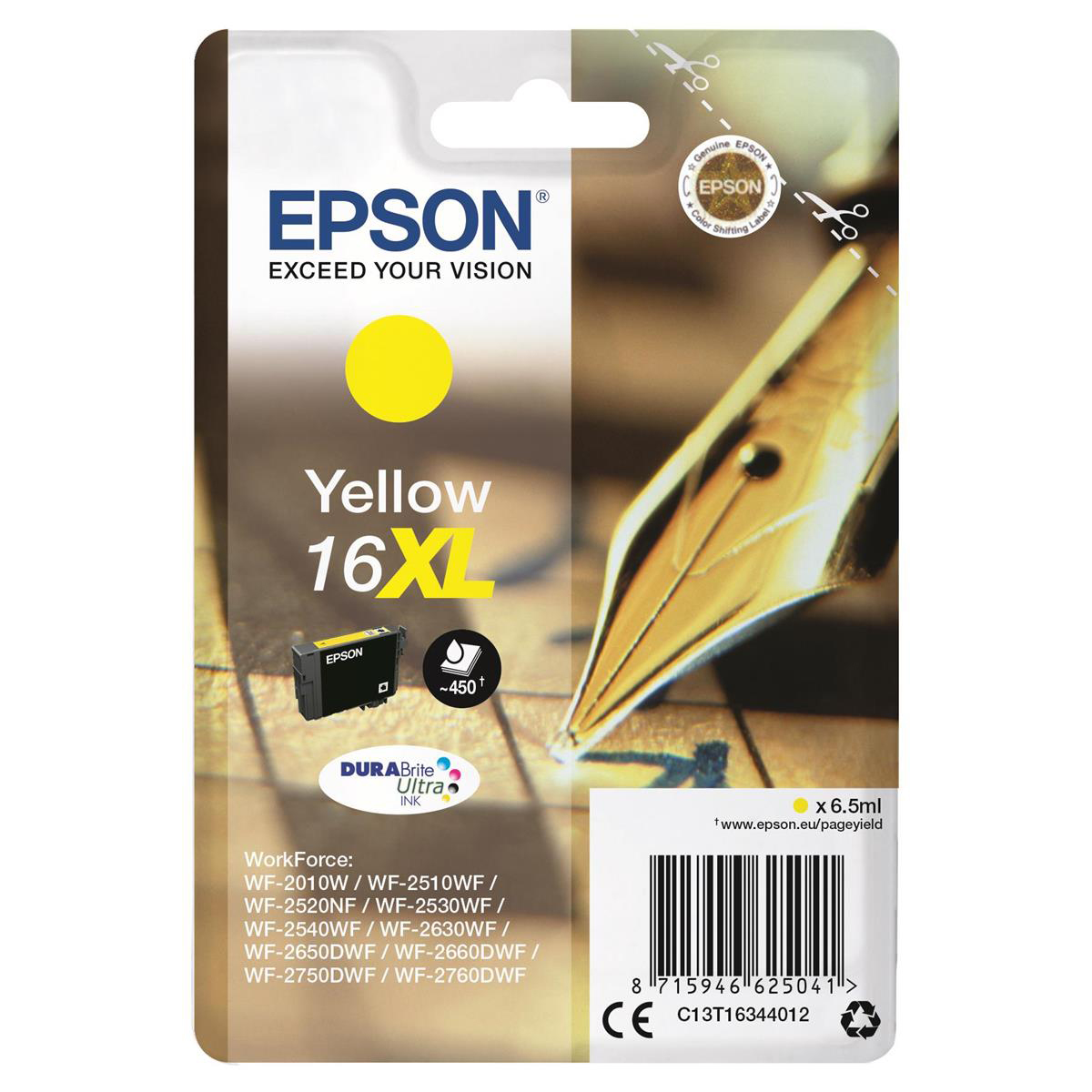 Epson 16XL Inkjet Cartridge Pen & Crossword High Yield Page Life 450pp 6.5ml Yellow Ref C13T16344012