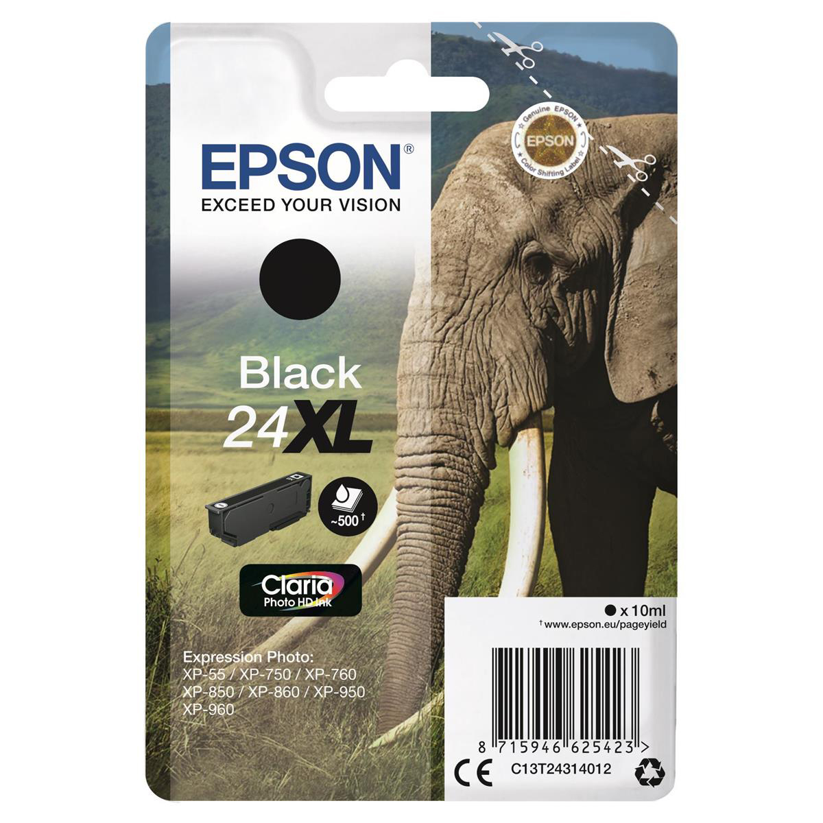 Epson 24XL Inkjet Cartridge Elephant High Yield Page Life 500pp 10ml Black Ref C13T24314012