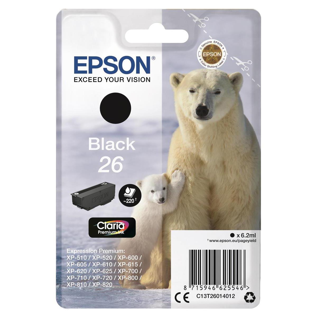 Epson 26 Inkjet Cartridge Polar Bear Page Life 220pp 6.2ml Black Ref C13T26014012