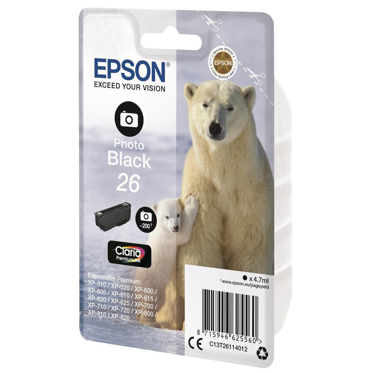 Epson 26 Inkjet Cartridge Polar Bear Page Life 200pp 4.7ml Photo Black Ref C13T26114012