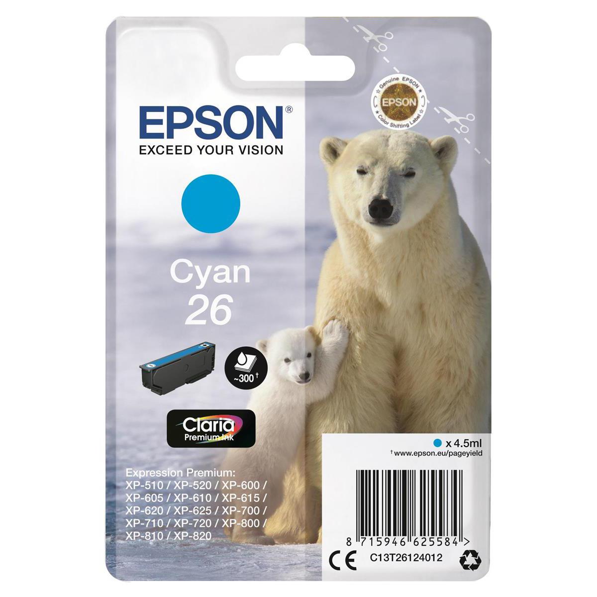 Epson 26 Inkjet Cartridge Polar Bear Page Life 300pp 4.5ml Cyan Ref C13T26124012
