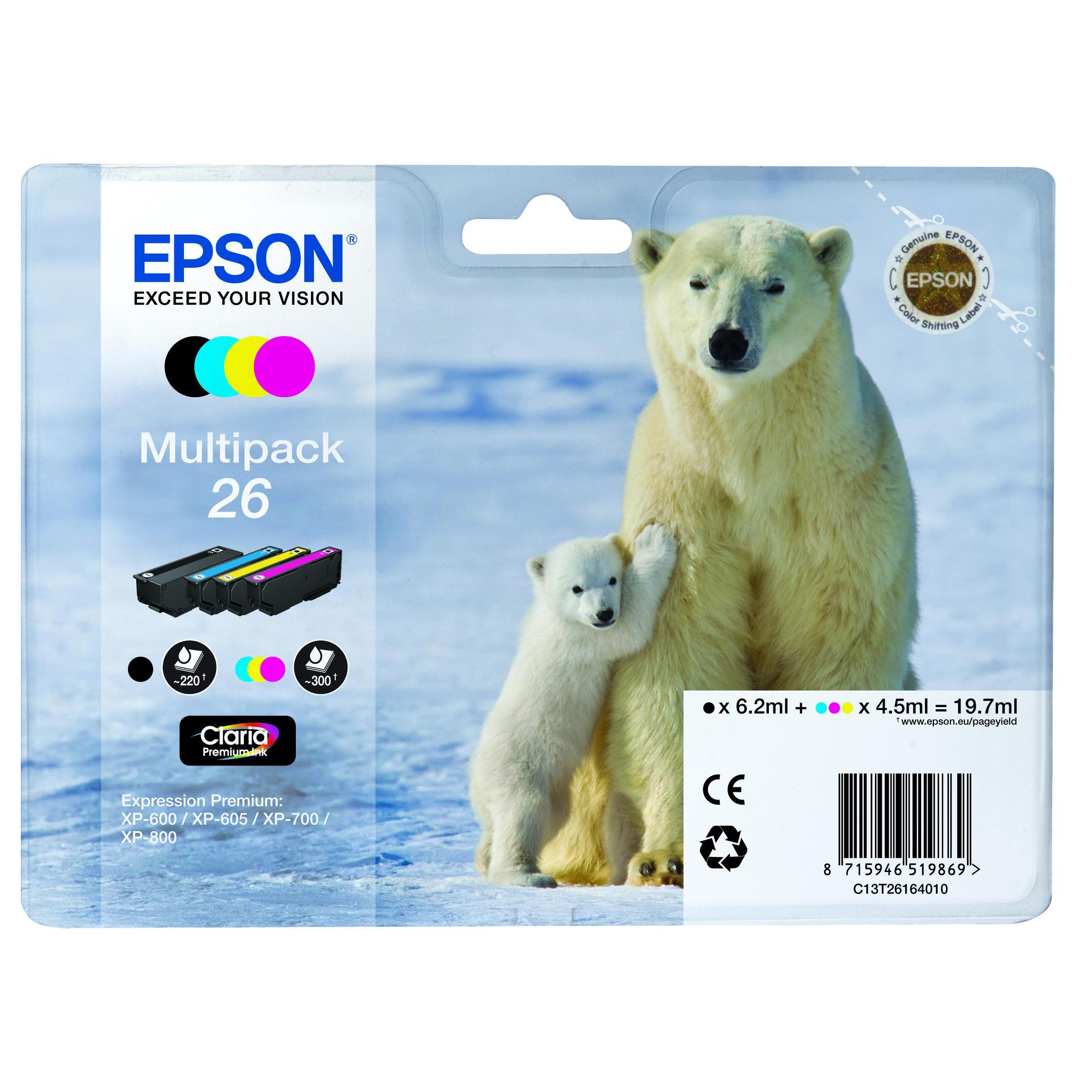 Epson 26 Inkjet Cartridge Polar Bear Black/Cyan/Magenta/Yellow 19.7ml Ref C13T26164010 Pack 4