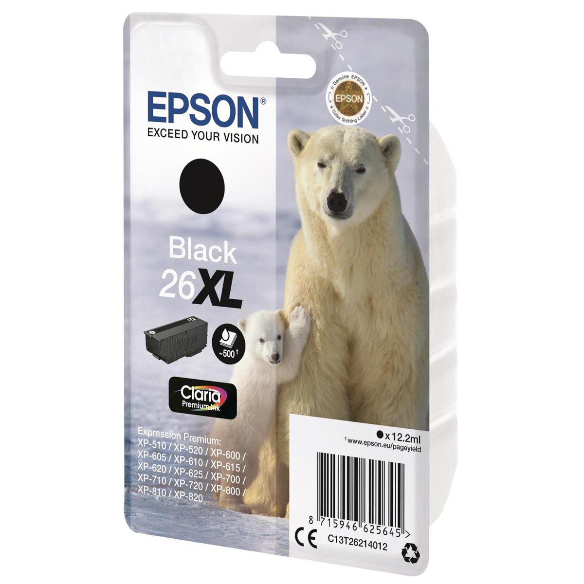 Epson 26XL Inkjet Cartridge Polar Bear High Yield Page Life 500pp 12.2ml Black Ref C13T26214012